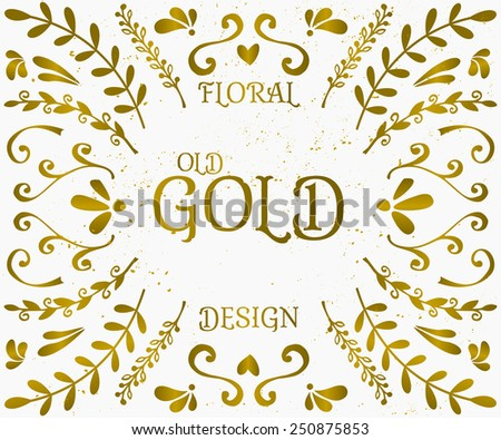 A set of vintage style floral design elements in golden and white. Hand drawn decorative elements and embellishments. Borders, laurels, swirls, wreaths and other floral style graphics. - stock vector