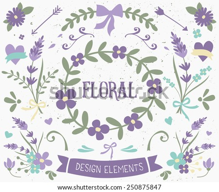 A set of vintage style floral design elements in violet and green. Hand drawn decorative elements and embellishments. Borders, laurels, swirls, wreaths and other floral graphics. - stock vector