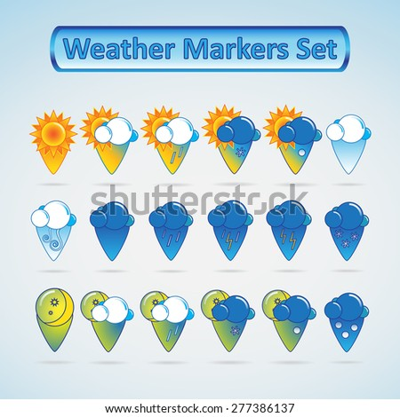A set of weather markers for maps. - stock vector
