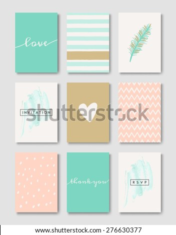 A set of wedding invitation card templates. Pastel pink, turquoise green, golden, teal and white color palette. EPS 10 file, gradient mesh used. - stock vector