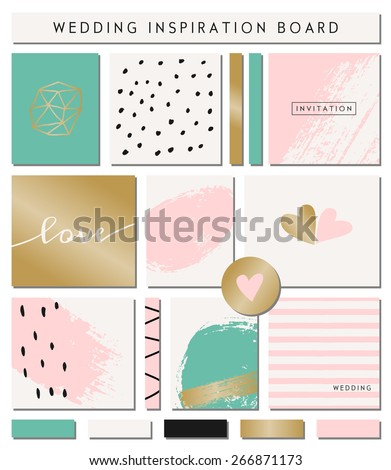 A set of wedding invitation templates, seamless patterns, ribbons and cards isolated on white. Pastel pink, turquoise green, golden, black and white color palette. Wedding inspiration board designs. - stock vector