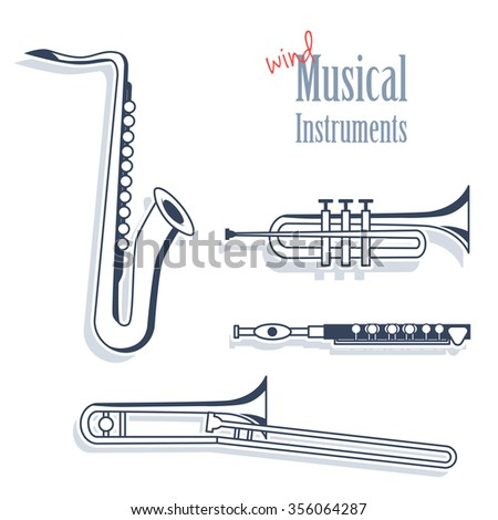 A set of wind instruments. Musical Instruments in monochrome style isolated on white background. Saxophone, trumpet, flute and trombone. - stock vector