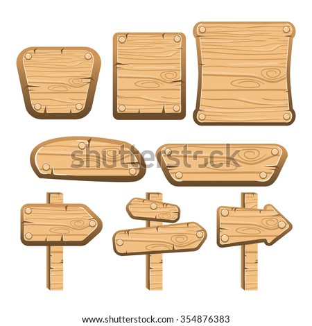 A set of wooden boards, panels and signs. Interface game illustration. - stock vector