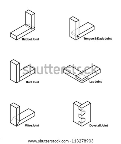 A set of woodworking/carpentry joints. - stock vector