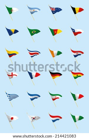 a set of world flags on a blue background - stock vector
