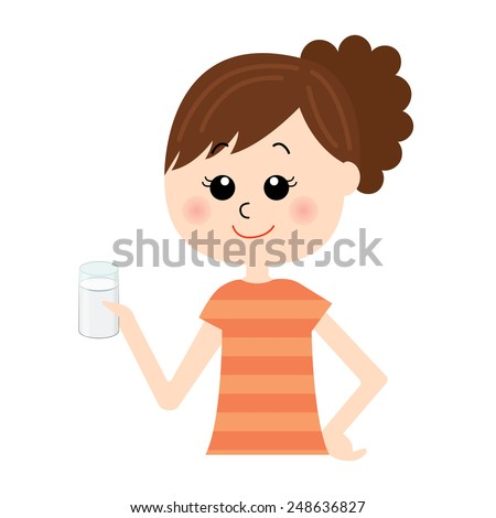 A set young happy woman with a glass of milk in her hand, vector illustration - stock vector