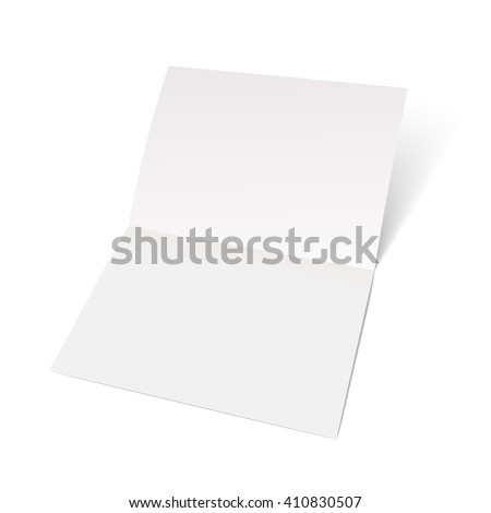A sheet of paper folded in half. Mock Up Template. Vector illustration - stock vector