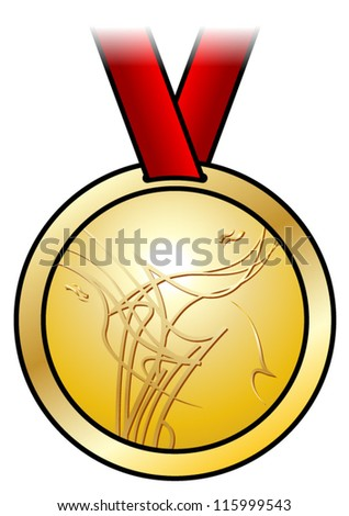 A shiny gold medal with a modern abstract design and a red satin ribbon. Shown front-on. - stock vector