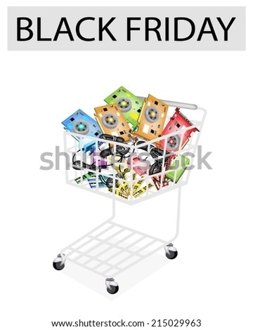 A Shopping Cart Full with Computer Hard wares for Black Friday Shopping Season and Biggest Discount Promotion in A Year.  - stock vector