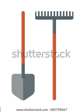 A shovel and rake are gardening tools. A Contemporary style. Vector flat design illustration isolated white background. Vertical layout. - stock vector