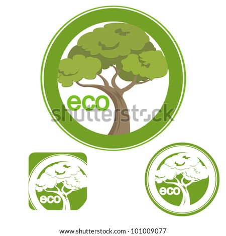 A sign symbolising an eco friendly product width a tree. Set off three sings. - stock vector