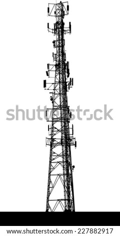 A silhouette of a communications tower. - stock vector