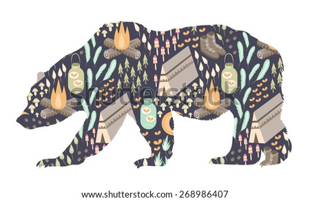 A silhouette of a grizzly bear with a camping themed pattern inside. - stock vector
