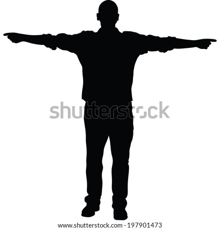 A silhouette of a man pointing in both directions. - stock vector