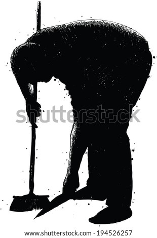 A silhouette of a man sweeping up with a broom. - stock vector
