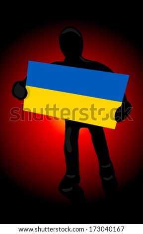 a silhouette of a man with the flag of Ukraine and fire revolution background - stock vector