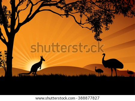 a silhouette of emus and kangaroo in the sunset - stock vector