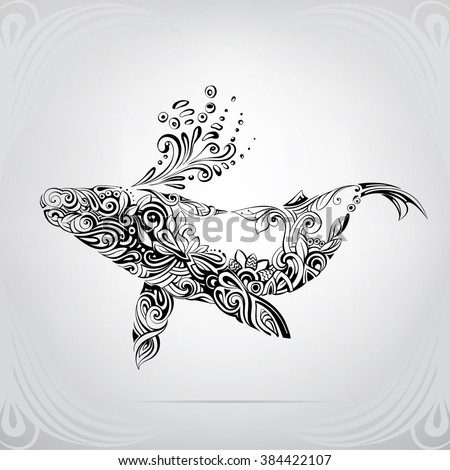 A silhouette of whale is in a decorative pattern - stock vector