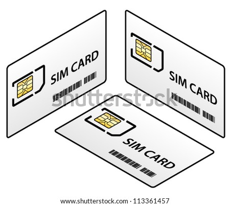 A SIM card in its credit-card-sized carrier ready to be punched out for use. - stock vector