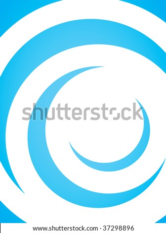 A simple blue vector layout with curling swoosh lines in a spiral shape. - stock vector