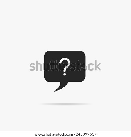 A simple chat window icon with a question. - stock vector