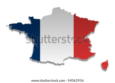 A simple 3D vector map of France. - stock vector