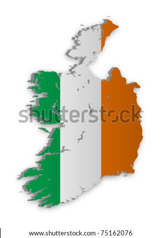 A simple 3D vector map of Ireland. - stock vector
