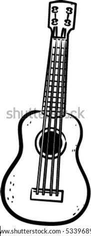 a simple vector Ukulele line art illustration - stock vector