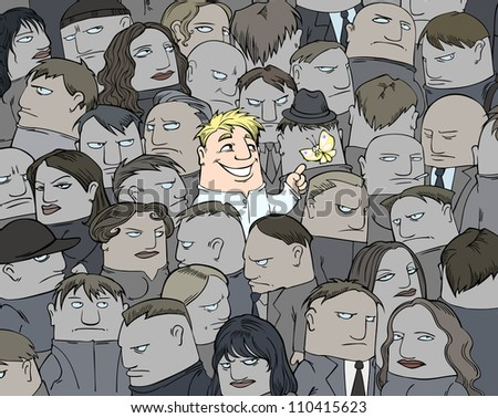 A single smile in a crowd - stock vector