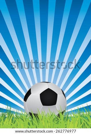 a single soccer ball with blue rays and grass - stock vector