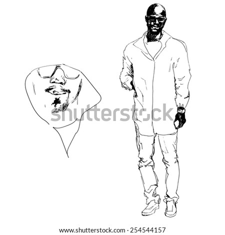 A sketch african man in sporty wear clothes. - stock vector