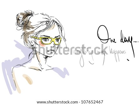 A sketch of the young woman in yellow sunglasses. Fashion illustration - stock vector