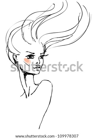 A sketch of the young woman with long hair - stock vector