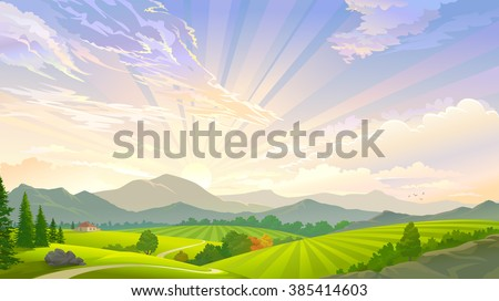 A sky full of rays and a scenic meadow - stock vector