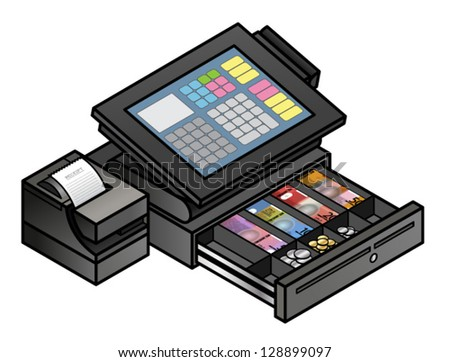 A slim profile touchscreen point of sale terminal with a card reader, receipt printer, and cash drawer. Cash drawer is shown open and filled with notes and coins. - stock vector