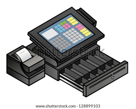 A slim profile touchscreen point of sale terminal with a card reader, receipt printer, and cash drawer. Cash drawer is shown open and empty. - stock vector