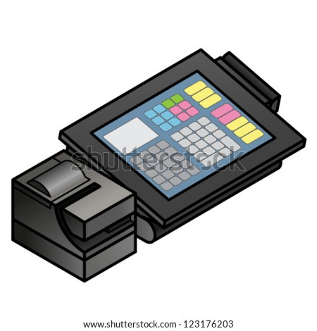 A slim profile touchscreen point of sale terminal with a card swipe slot and receipt printer. - stock vector