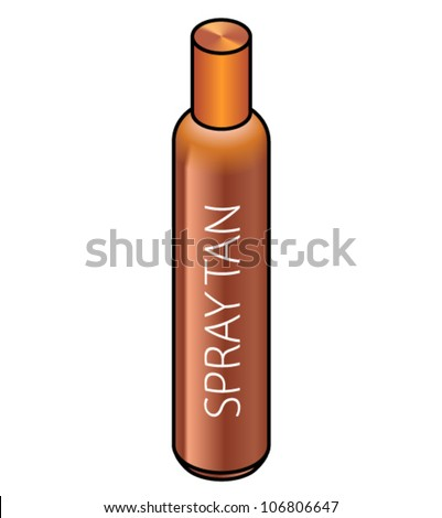 A slim spray can of tanning lotion. - stock vector