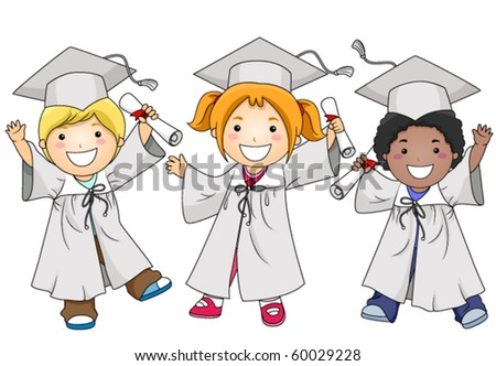 A Small Group of Beaming Kids in Caps and Togas Clutching their Diplomas - Vector - stock vector