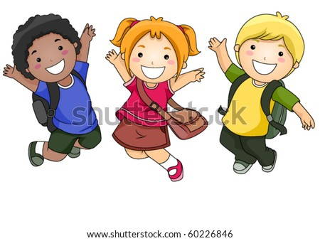 A Small Group of Students Jumping Happily - Vecotr - stock vector
