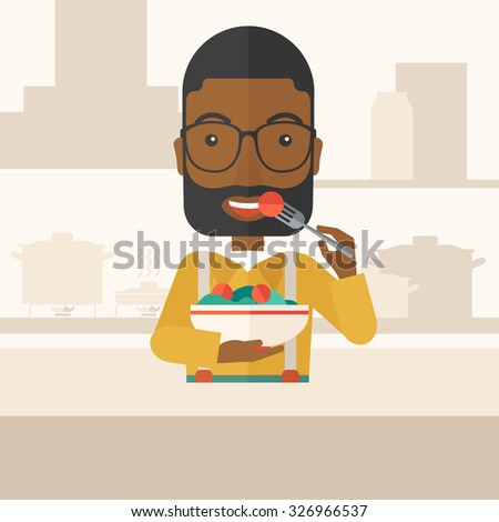 A smiling african-american man with beard in glasses eating salad vector flat design illustration. Healthy concept. Square layout. - stock vector