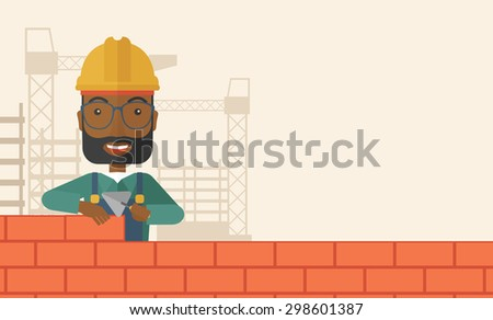 A smiling black builder wearing a hard hat buiding a brick wall. A Contemporary style with pastel palette, soft beige tinted background. Vector flat design illustration. Horizontal layout with text - stock vector