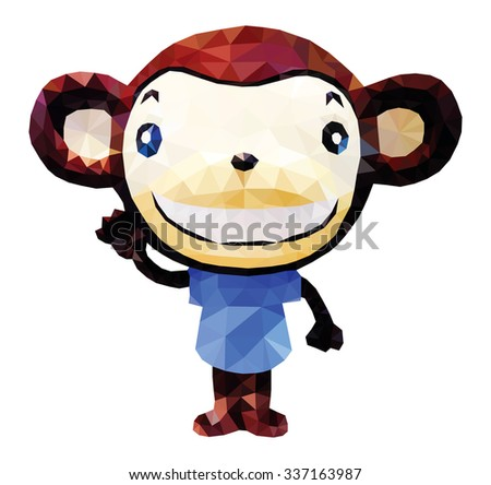 A smiling cartoon baby monkey, low poly vector illustration. - stock vector