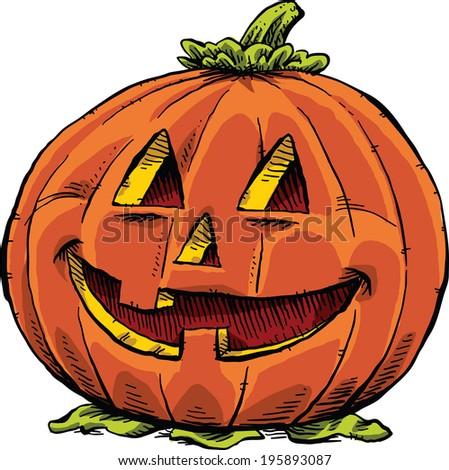 A smiling, friendly jack 'o lantern. - stock vector