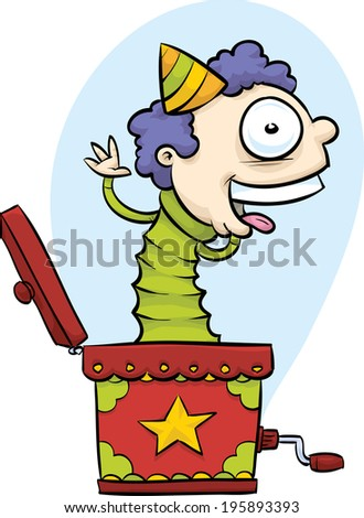 A smiling, happy cartoon face pops out of a Jack in the Box. - stock vector