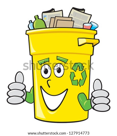 A smiling yellow cartoon recycling bin giving two thumbs up. - stock vector