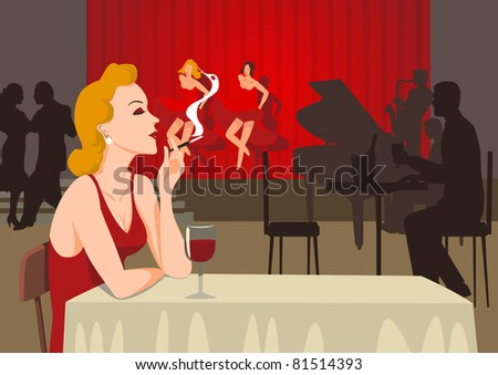 A smoking single lady at sixties nightclub - stock vector