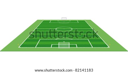 A soccer field / pitch or football field in 3D aerial perspective with goals and corner flags. - stock vector
