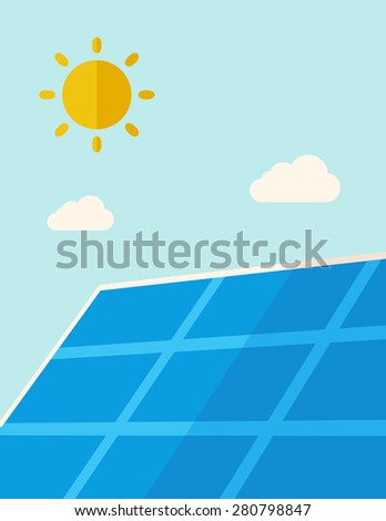 A solar energy panel under the heat of the sun. A Contemporary style with pastel palette, soft blue tinted background with desaturated clouds. Vector flat design illustration. Vertical layout. - stock vector