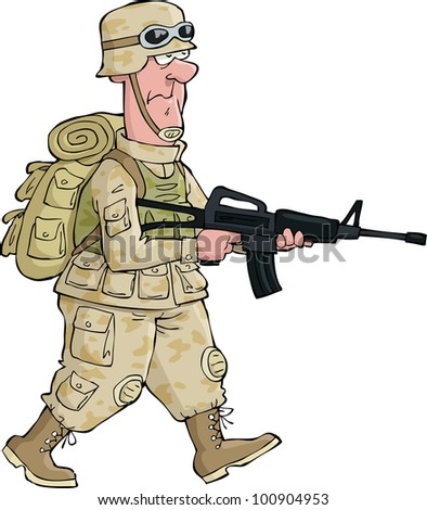 A soldier on an isolated background vector illustration - stock vector